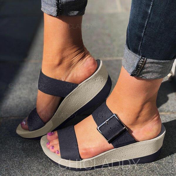 Bayanlar PU Sivri topuk Sandalet Peep Toe Terlik Ile Toka ayakkabı