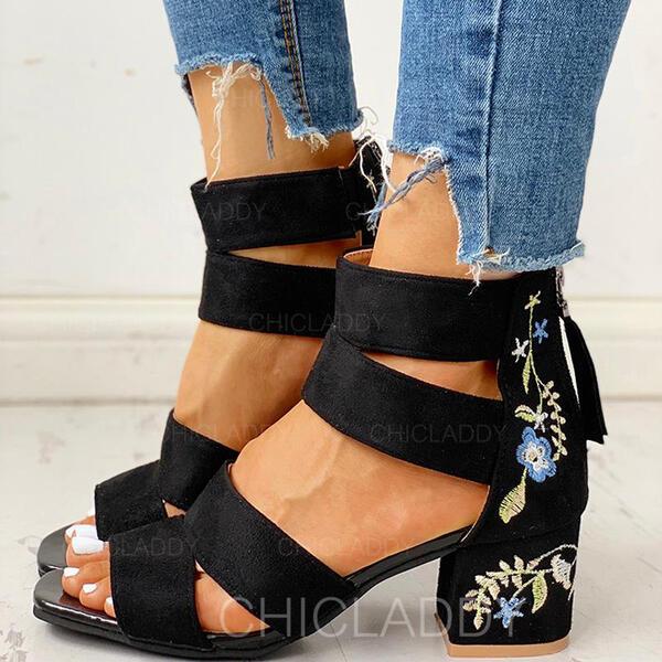 Γυναίκες Καστόρι Χοντρό φτέρνα Γοβάκια Με Φερμουάρ Λουλούδι παπούτσια