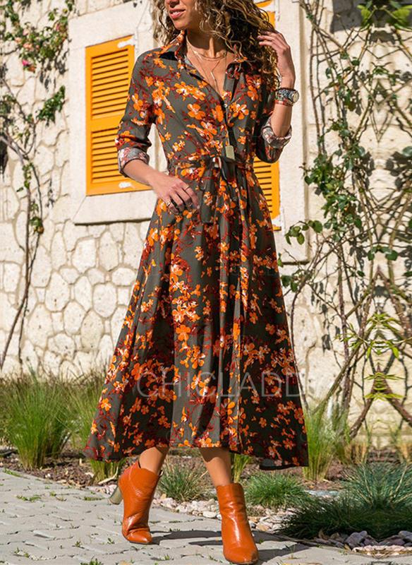 Print/Floral Long Sleeves A-line Casual/Elegant Midi Dresses