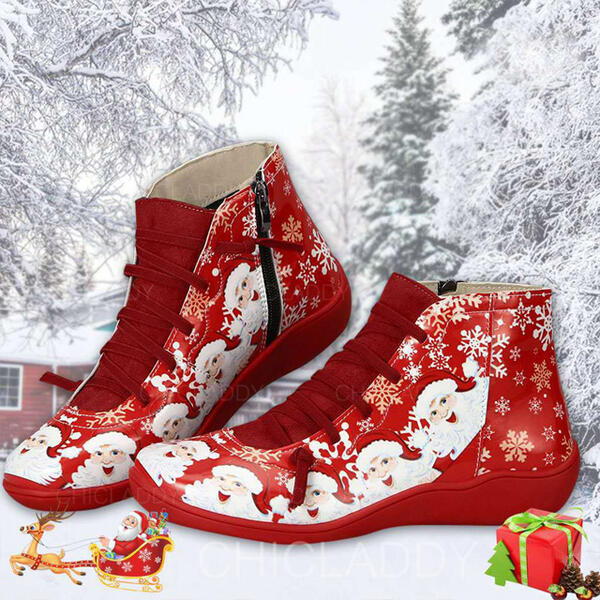 Dámské PU Placatý podpatek Kotníkové Boty Kolem špičky Zimní obuv S Šněrovací Splice Color obuv