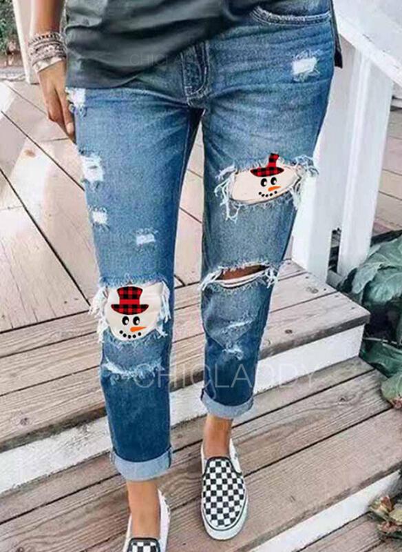 Patchwork Taglia grossa Strappata Natale Casuale Tribal Denim & Jeans