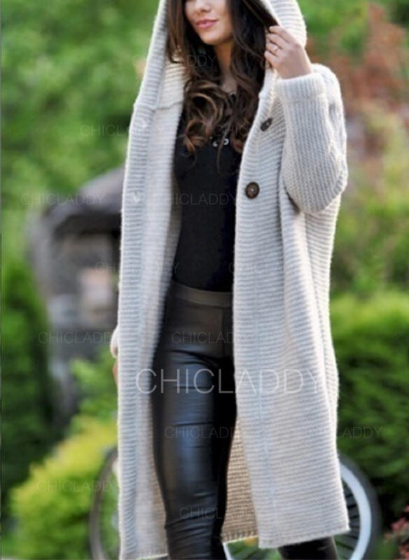 Solid Ribbade Hooded Casual Cardigan