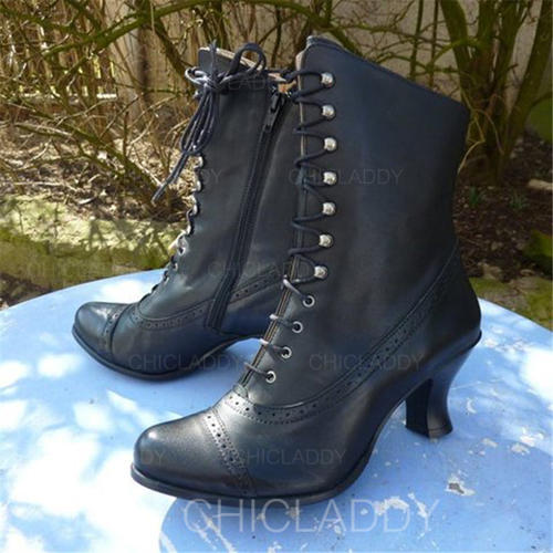 De mujer PU Tacón chupete Botas Botas longitud media con Cordones zapatos