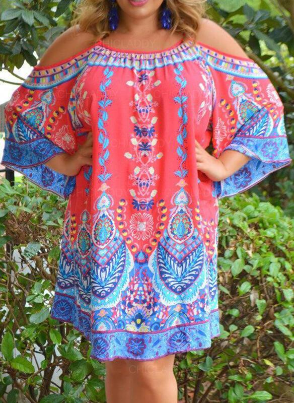 Duży rozmiar Nadruk Rękawy 3/4 Suknie shift Nad kolana Boho Nieformalny Wakacyjna Sukienka