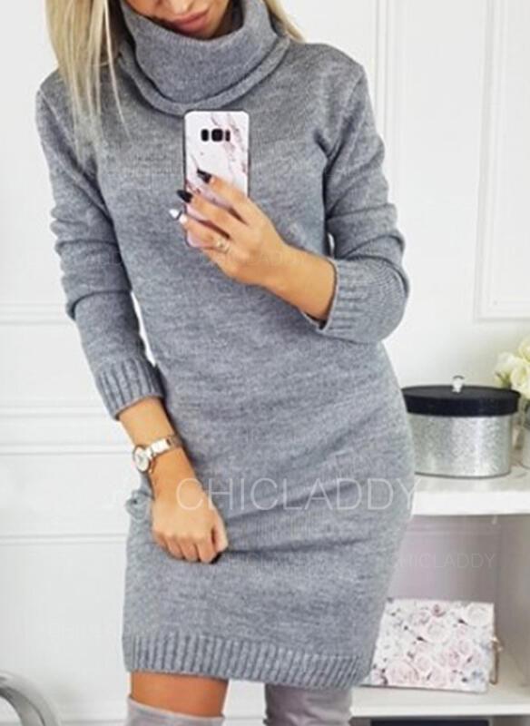 Düz / Tek (Renk) Rolák Neformální Dlouhé Svetrové šaty