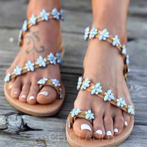 Pentru Femei PU Fară Toc Sandale Balerini cu Aplicaţie pantofi