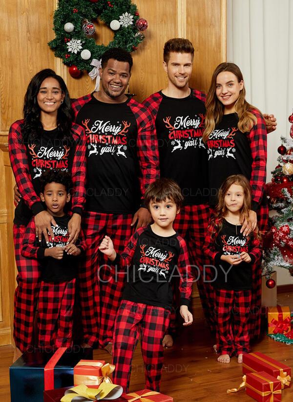Kostkovaný Dopis Rodinné odpovídající Vánoční pyžama