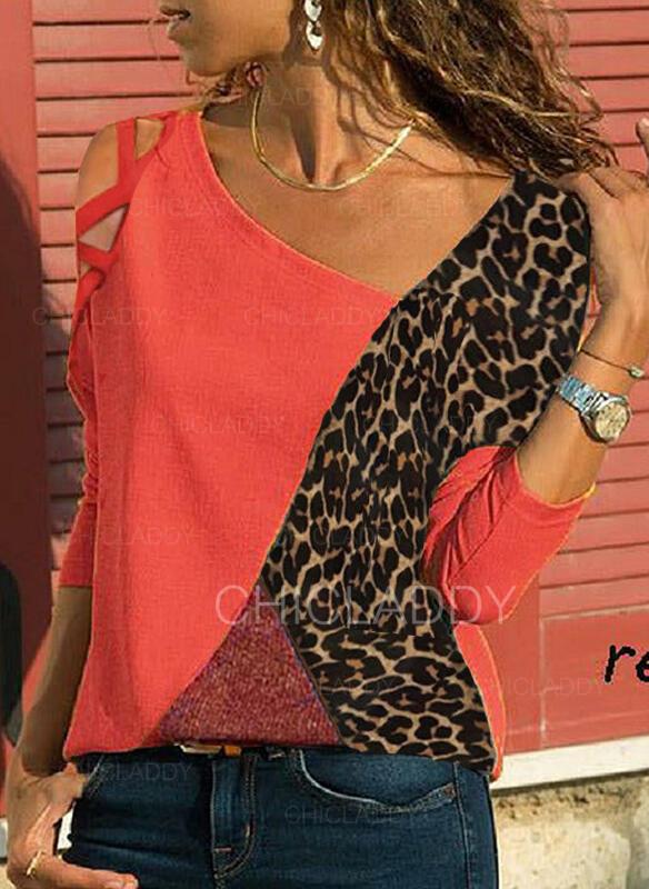 Color Block Leopard Odhalená Ramena Dlouhé rukávy Neformální Blůzy