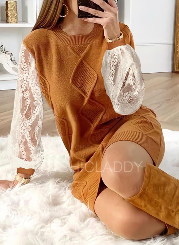 Solido Pizzo Girocollo Casual Lungo Abito maglione