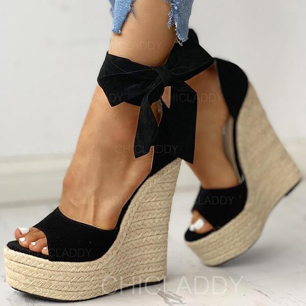 De mujer PU Tipo de tacón Sandalias Cuñas Encaje Tacones con Cordones zapatos