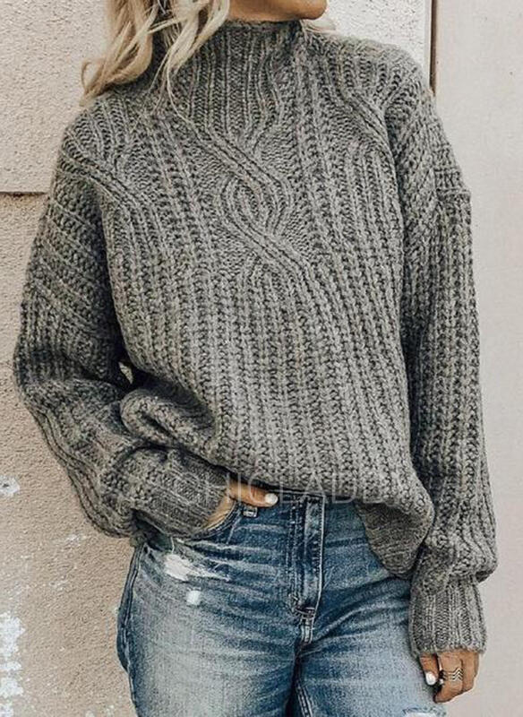 Jednobarevné Copánkový vzor Hrubá pletenina Stojáček Neformální Pulovere