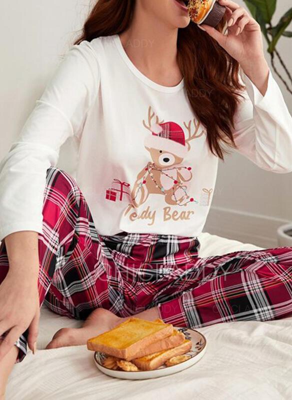 Bavlněné směsi Dlouhé rukávy Kostkovaný Vánoce Pajama Set