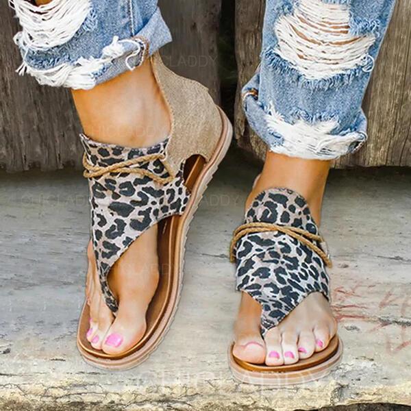 De mujer Cuero Tejido Tacón plano Sandalias Planos Encaje con Estampado de animales Cremallera zapatos