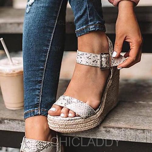 Bayanlar PU Sivri topuk Sandalet Pompalar Peep Toe Ile Toka ayakkabı