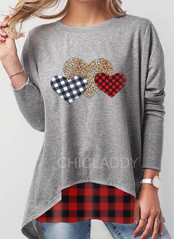 rács Leopard Srdce Kulatý Výstřih Dlouhé rukávy Mikina