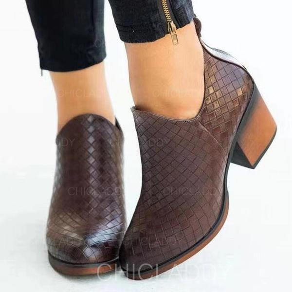 Γυναίκες PU Χοντρό φτέρνα Μπότες ποδιών Με Φερμουάρ παπούτσια
