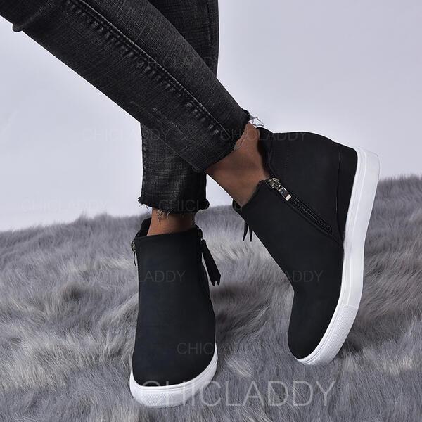 Dámské Koženka Placatý podpatek Boty S Zip Solid Color obuv
