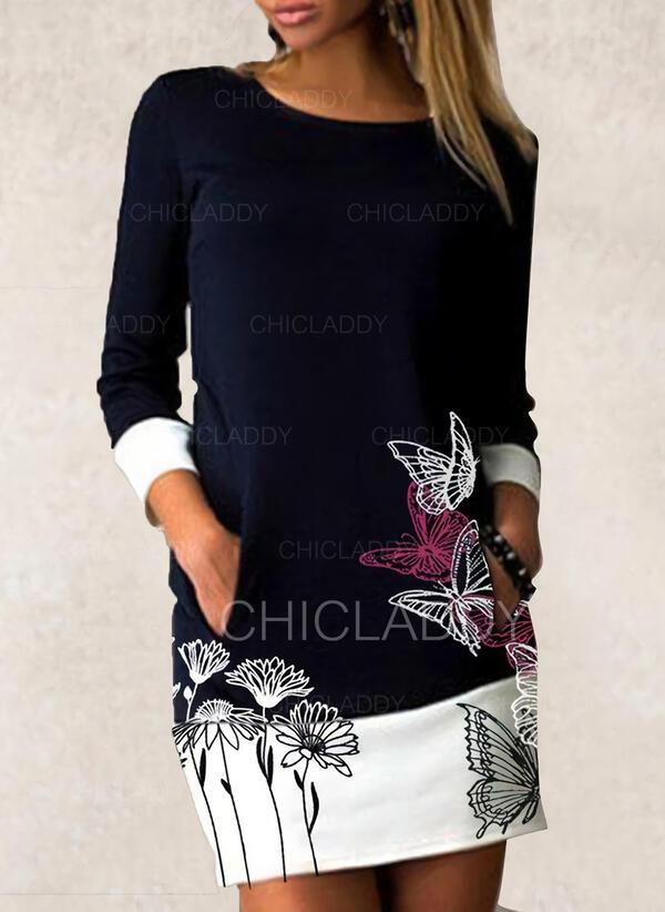 Květiny/Animal Print Dlouhé rukávy Přiléhavé Nad kolena Neformální Šaty