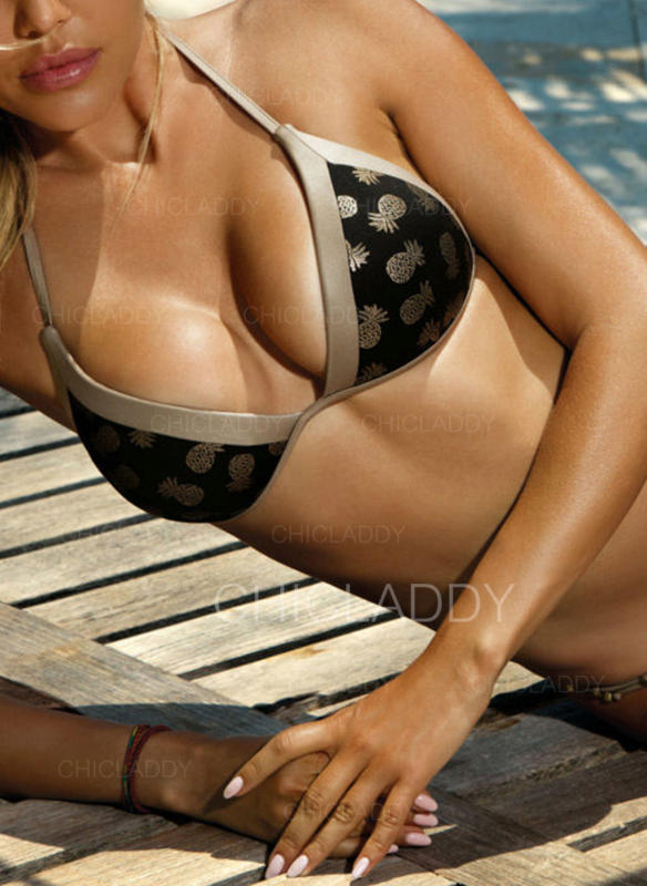 Low Waist Leaves Print Halter Elegant Fashionable Bikinis Swimsuits