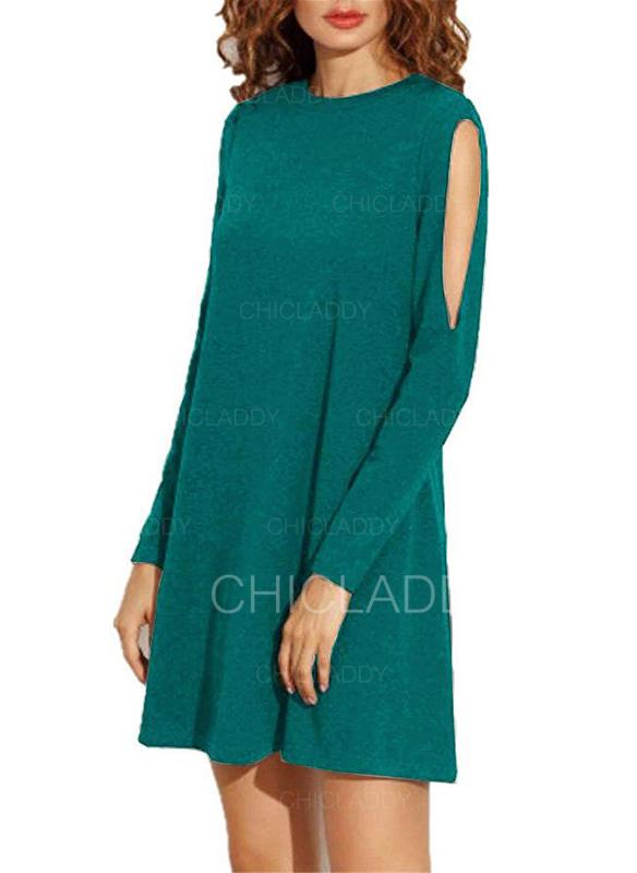 Couleur Unie Épaule Froide Droite Au-dessus Du Genou Petites Robes Noires/Décontractée/Élégante Robes