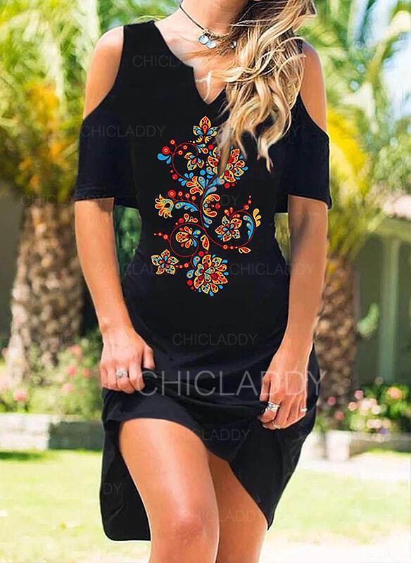 印刷/フローラル 1/2袖 シースドレス 膝丈 カジュアル/休暇 ドレス