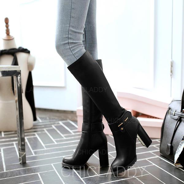 Pentru Femei Imitaţie de Piele Toc gros Cizme Cizme până la genunchi cu Nit Cataramă Fermoar pantofi