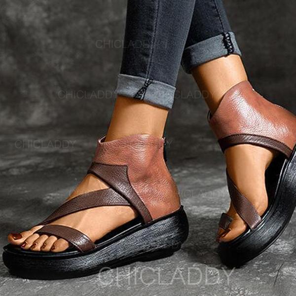 Dla kobiet PU Płaski Obcas Sandały Koturny Otwarty Nosek Buta Z Zamek błyskawiczny obuwie