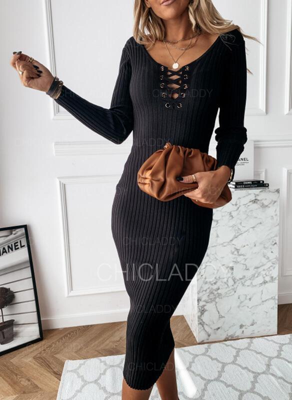 Pevný Dlouhé rukávy Přiléhavé Malé černé/Neformální Midi Šaty