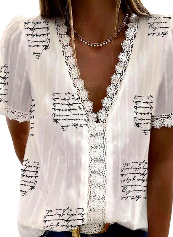 Nadruk Koronka Dekolt w kształcie litery V Krótkie rękawy Casual Elegancki Bluzki