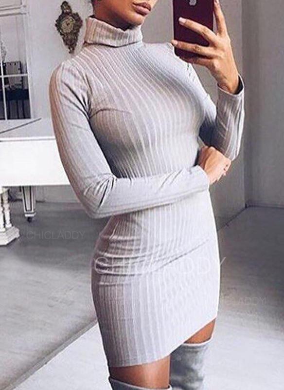 Sólido Acanalado Cuello De Tortuga Casuales Largo Ajustado Vestido de Suéter