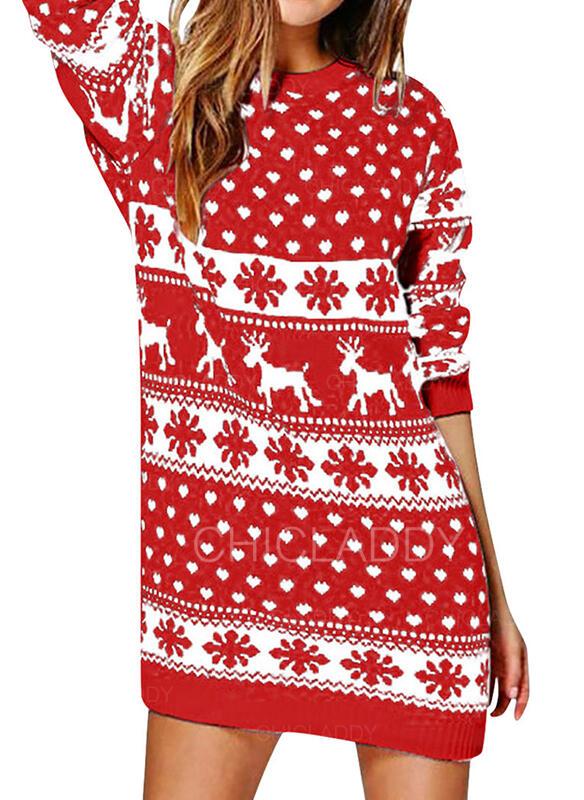 Animal Print Dlouhé rukávy Splývavé Nad kolena Vánoce/Neformální Svetr Šaty