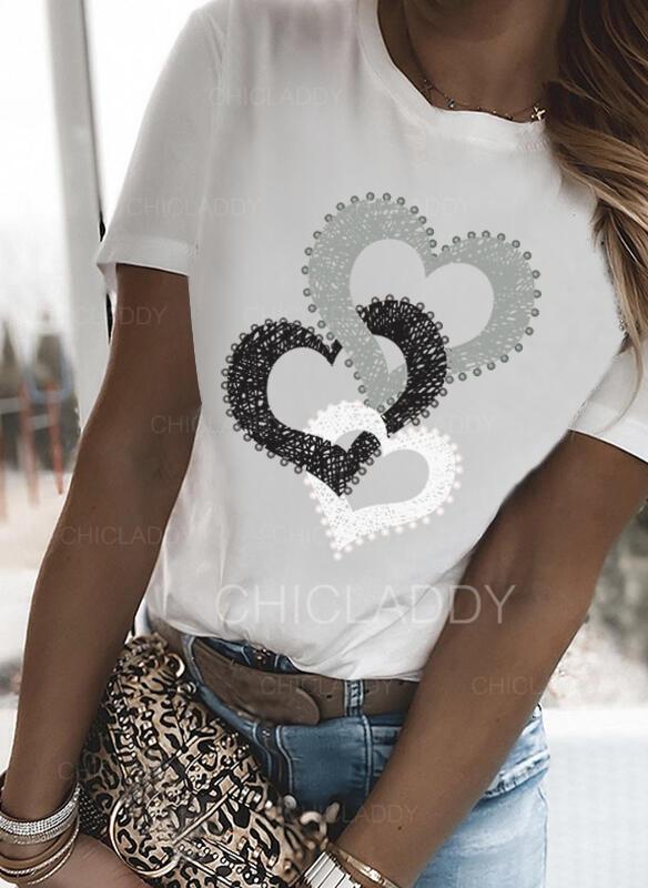 Srdce Tisk Kulatý Výstřih Krátké rukávy Trička