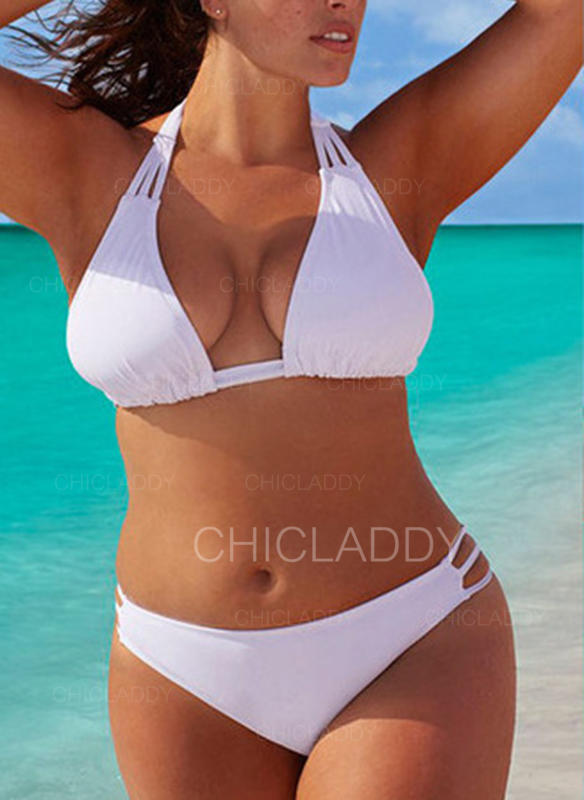 Couleur Unie Taille Basse Dos Nu Sexy Grande taille Bikinis Maillots De Bain