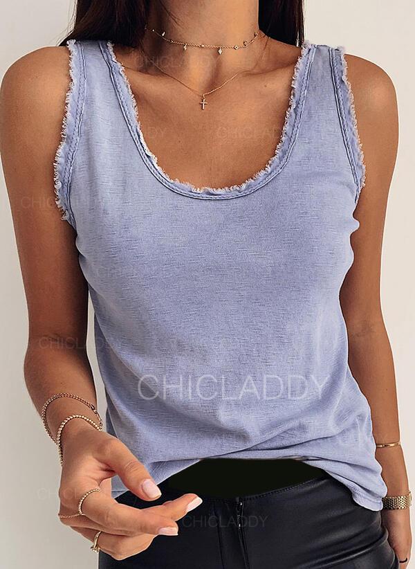 Sólido Cuello redondo Sin mangas Casual Camisetas sin mangas
