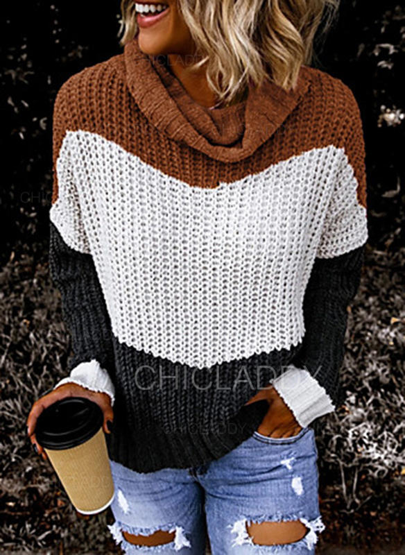 Color Block Chunky knit Turtleneck Casual Sweaters