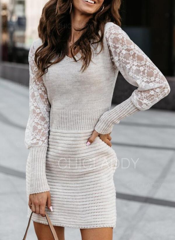 кружевной V шеи Повседневная Долго Свитер платье