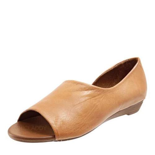 Bayanlar suni deri Düz topuk Sandalet Peep Toe ayakkabı