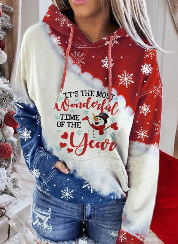 Stampa Figura Maniche lunghe Felpa natalizia