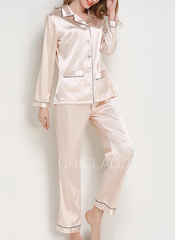 Cuello en V Manga Larga Color sólido Casual Conjuntos de top y pantalones