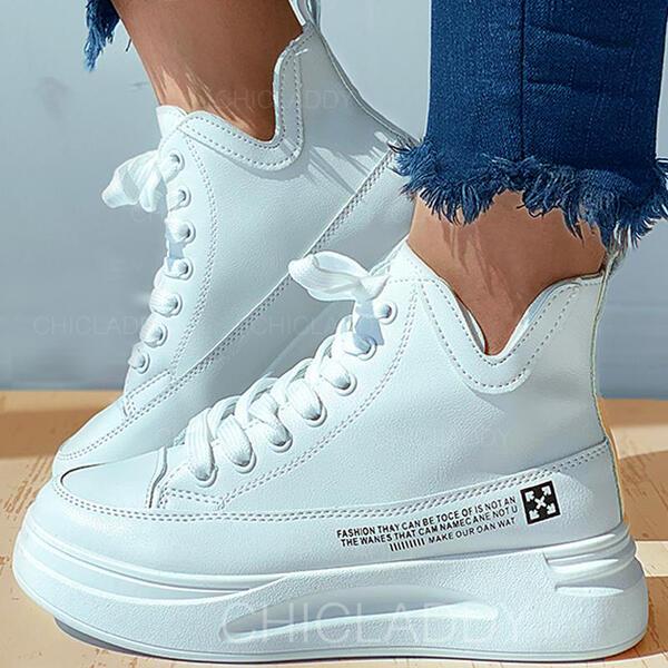 Женский PU Плоский каблук Квартиры с Зашнуровать Сплошной цвет обувь
