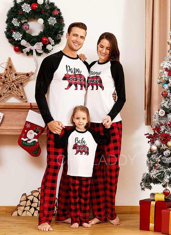 нести Плед Letter Распечатать Семейное соответствие Рождественская пижама
