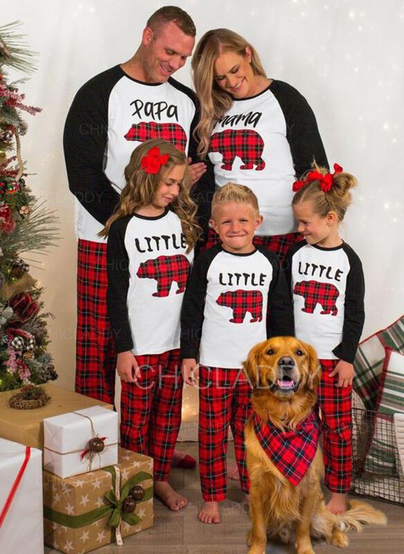 Cervo Orso Tartan Lettera Famiglia Partita Di Natale Pajamas