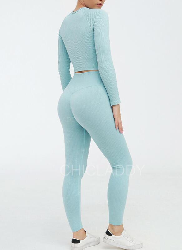 Cuello Redondo Manga Larga Color sólido Leggings deportivos Sujetadores deportivos Conjuntos de yoga