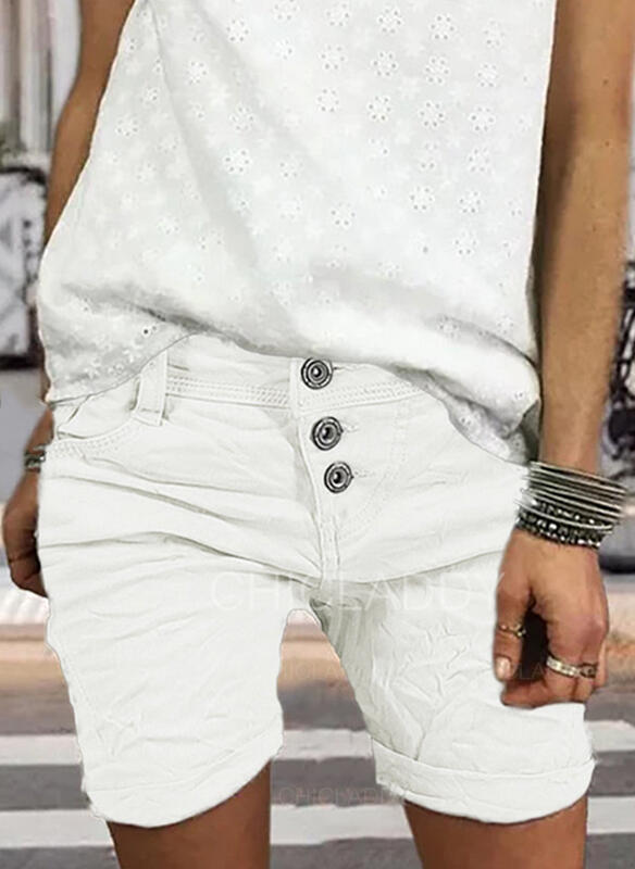 Kieszenie Marszczona Duży rozmiar Nad kolanem Nieformalny Elegancki Seksowny Szorty
