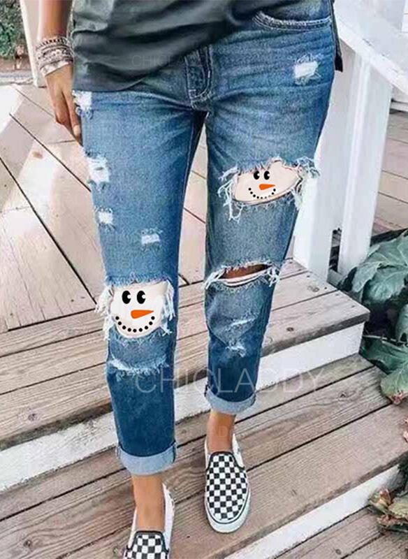 Patchwork Stampa Taglia grossa Strappata Natale Casuale Vintage Denim & Jeans