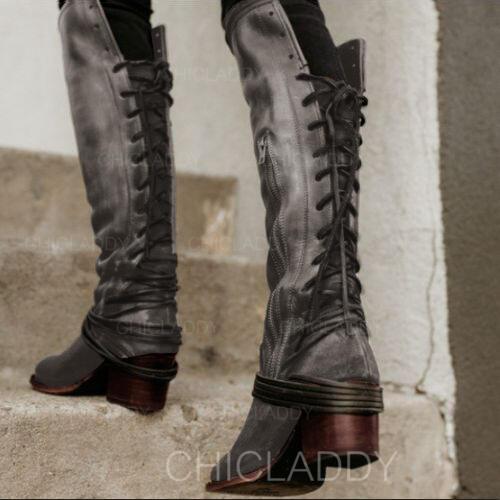 Dámské PU Široký podpatek Boty S Šněrovací Solid Color obuv