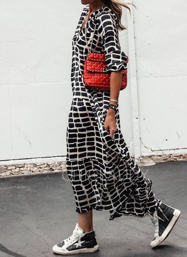 Nadrukowana Długie rękawy Koktajlowa Casual Maxi Sukienki