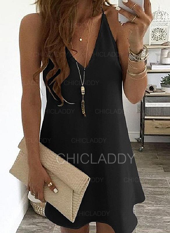 Sólido Sin mangas Tendencia Sobre la Rodilla Pequeños Negros/Casual Camisón Vestidos