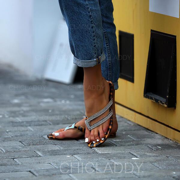De mujer Cuero Tacón plano Sandalias Planos Chancletas Pantuflas con Rhinestone zapatos
