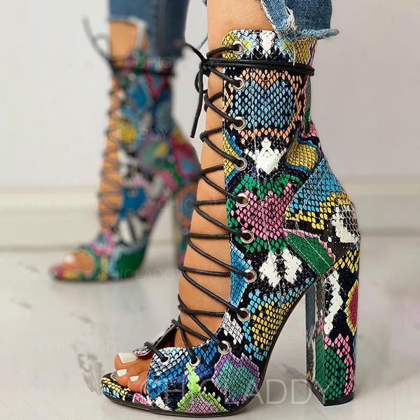 Γυναίκες PU Χοντρό φτέρνα Ανοιχτά σανδάλια toe Με Κέντημα-επάνω παπούτσια